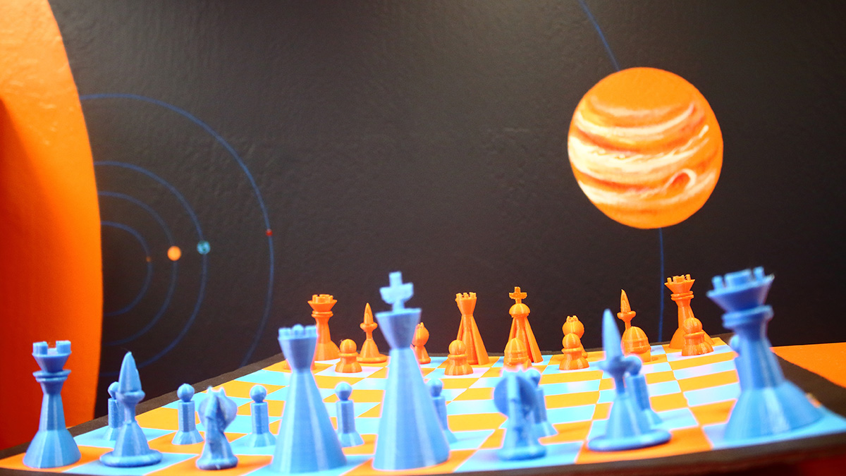 All the pieces in this 3D printed chess set were designed by our students.