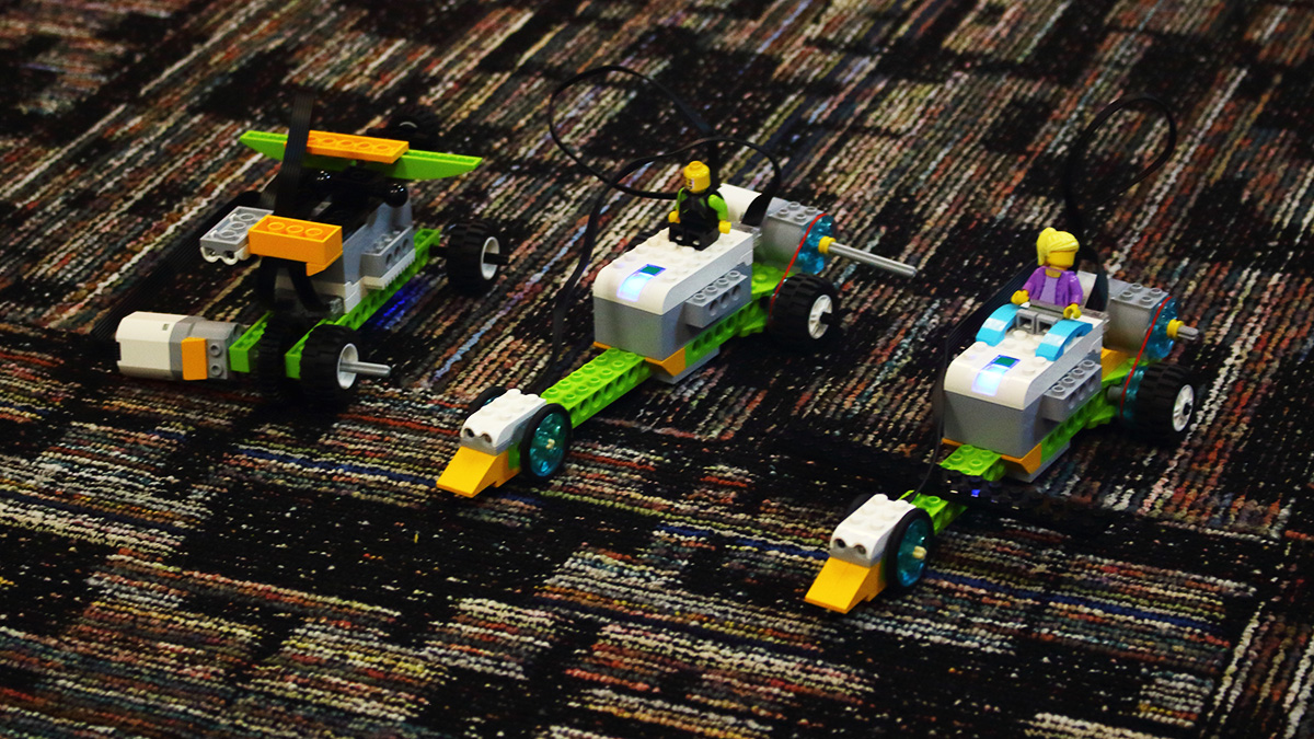 Our summer camp students built these LEGO Racecars. Gentlemen, start your programs!