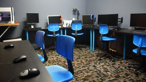 Computer lab with Chromebooks for up to 12 students