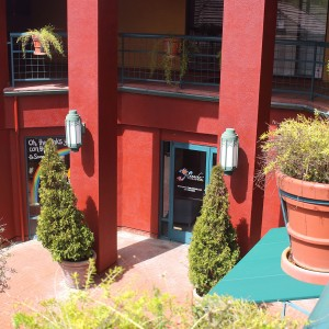 Our doorway on the plaza